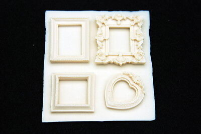 4 Mini Frame, Silicone Mold Chocolate Polymer Clay Jewelry Soap Wax Resin