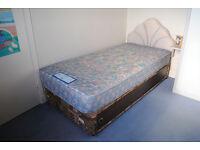 Divan single bed, includes headboard and mattress. Cash sale. £40.