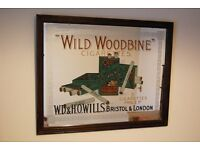 Rare Vintage Antique Shop Display Advertising Mirror for Wills Woodbine Cigarettes