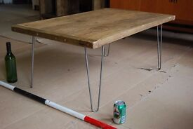 COFFEE TABLE salvage hunters industrial rustic solid reclaimed wood hairpin Brighton gplanera