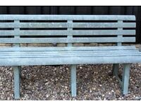 STYLISH GREEN WEATHERPROOF PLASTIC GARDEN BENCH, SEATS THREE, DISASSEMBLES, CAN DELIVER