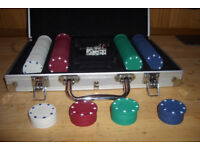 Poker chips, dice and metal carry box.