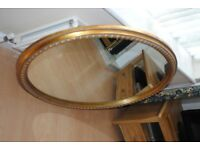 Mirror, large, gilt, oval