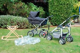 BARGAIN! Silver Cross Sleepover Pram - lie flat carry cot converts to pushchair - rocker - raincover