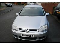 VW GOLF MATCH 1.9 TDI LATE 2008 LOW MILES FSH £3295 p/x Welcome
