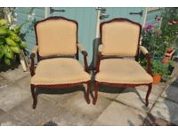 Pair of Large French Louis XV Style Chairs