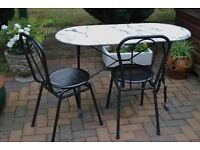 MARBLE TOPPED BISTRO TABLE AND CHAIRS