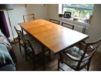 Mid century teak extending dining table and 6 chairs