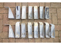 15 galvanized joist hangers, cement in