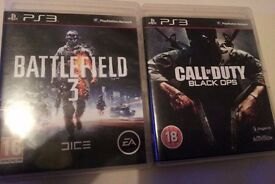 2 games for Playstation3 (ps3): Call of Duty: Black Ops, and Battlefield 3