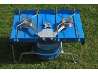 Two ring camping cooker with gas