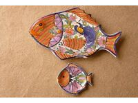 Exclusive Large Fishplate and small plate to accompany as a set. Hand made in Greece