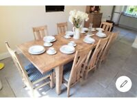 Beautiful Rustic Solid Oak Dining Table with 8 chairs