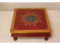 Antique Hand painted maroon Indian chowki meenakari table
