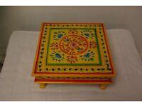 Antique Hand painted yellow Indian chowki meenakari table