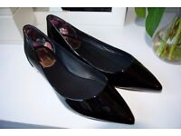 TED BAKER black patent leather flats size 41/8 NEVER WORN