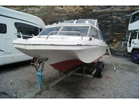 17ft dory 2 berth fishing boat with 60hp mariner 2stroke ptt outboard and trailer