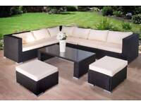 **FAST AND FREE DELIVERY** Luxury Rattan Garden Corner Sofa with Stools and Table - CLEARANCE