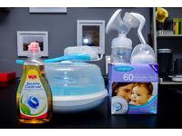 Philips AVENT Breast Pump + Microwave Steriliser + Lansinoh nursing pad + NUK bottle cleanser