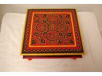Hand painted red Indian chowki meenakari table