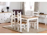 New 5ft Solid Corona dining table with 4 chairs in white or grey IN STOCK NOW