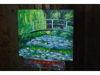 Actual OIL PAINTING Monet water lillies style Brighton Hove canvas easy to hang: stick on wall