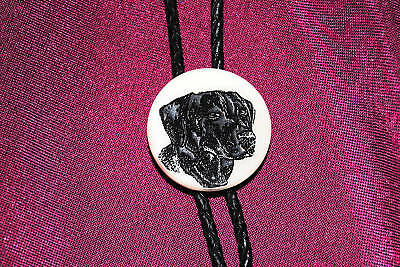 Black Labrador - Etched Cultured Marble Bolo / Bola Tie for sale  Shipping to India