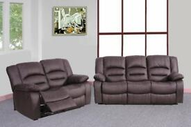 628 NEW 3 AND 2 SEATER LEATHER RECLINER SOFA