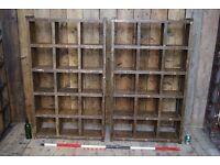 Pigeon holes bookcase pair industrial rustic solid reclaimed wood Brighton gplanera