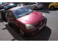 Red Renault Clio, 2003, 5dr, petrol good runner, minor quirks MOT March 17