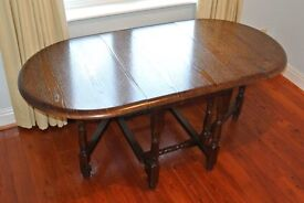 Solid Oak Oval Folding Dining Table