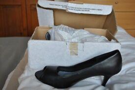 Ladies Black Court Peep Toe Shoe
