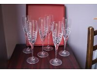 Tyrone Crystal Champagne flutes x 6
