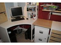 Micke corner desk and drawer unit - white