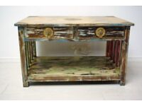 Beautiful hand carved stencilled brass work and solid teak wood coffee table