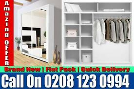 WHITE SLIDING 2 DOORS BERLIN FULL MIRROR CHEAP PRICE WARDROB