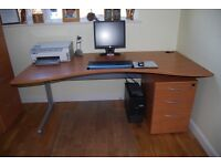 Office furniture in excellent condition- large desk/pedestal drawers/filing cabinet/cupboard