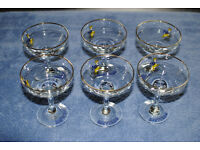 Babycham Champagne Glases Full Set Of Six Retro Vintage Late 60s