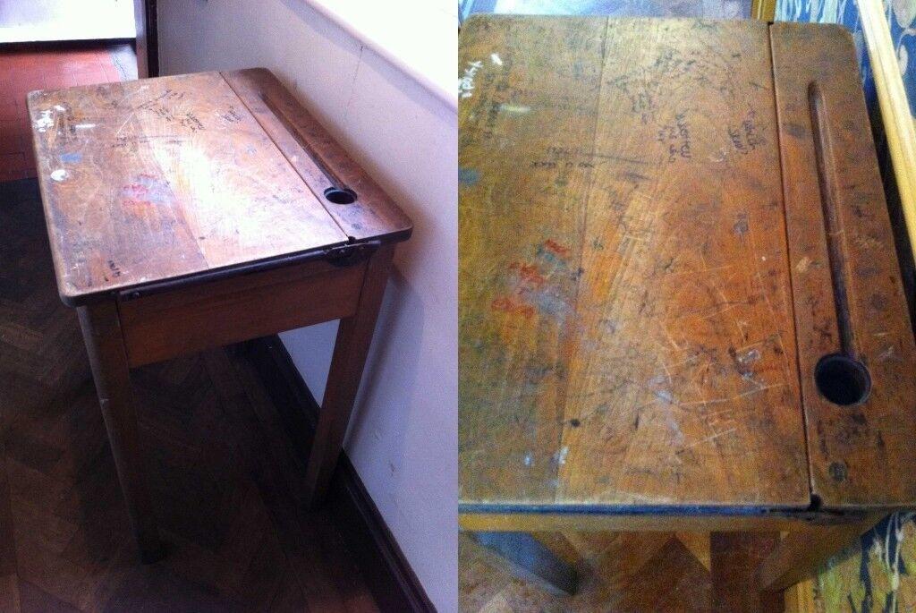 2 school desks, hardwood vintage with original school graffiti, £24 for  both/or £12 for one | in Maidenhead, Berkshire | Gumtree
