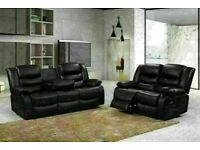 😎EXCLUSIVE CHELSEA BONDED LEATHER RECLINER 3+2 SEATER SOFA SUITE WITH CUP HOLDER BLACK OR GREY