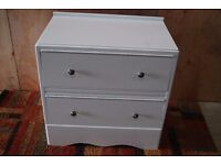 Small 2 drawer chest finished in white eggshell