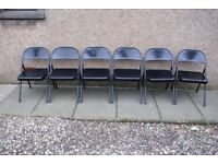 6 BLACK FOLDING METAL CHAIRS, KITCHEN, GARDEN, OFFICE, OCCASIONAL USE