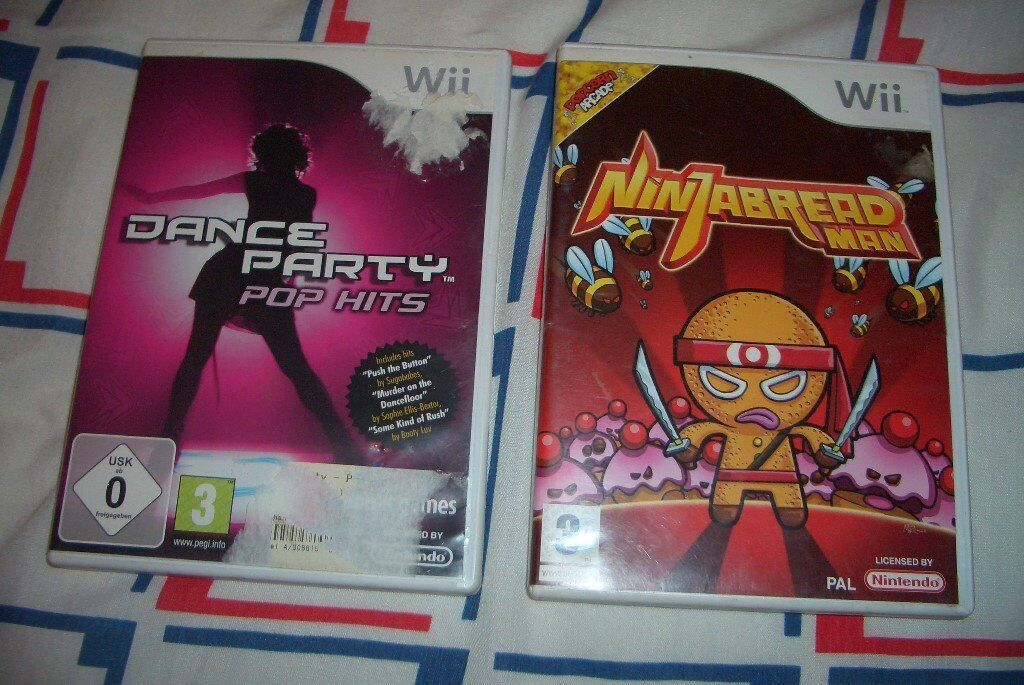 Nintendo Wii Games Ninjabread Man & Dance Party Pop Hits Boxed