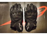 Alpinestars GPX Leather Motorcycle Gloves Black/White Size Large