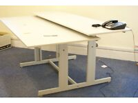 Split level desk in grey