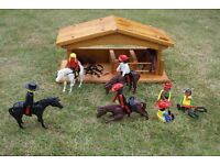 Riding Figures and Horses with wooden handmade stable - in good condition - vintage 1970's