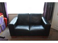 Black Leather Suite and footstool
