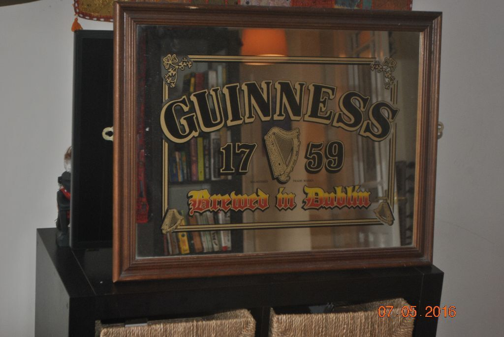 Large 1980s Guinness Bar Mirror Vintage 68 X 53cm