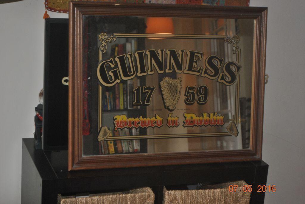Large 1980s Guinness Bar Mirror Vintage 68 X 53cm Frame