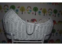 White Moses basket from Mothercare Apples & Pears collection. Stand included